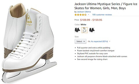jackson ultima mystique series figure ice skates for men and women