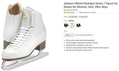 jackson ultima mystique series figure ice skates for men and women