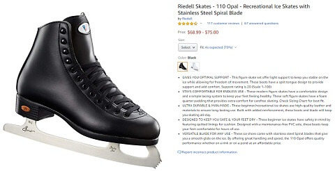 riedell 110 opal recreational ice figure skates