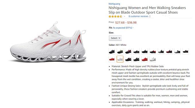 nishiguang women and men walking sneakers