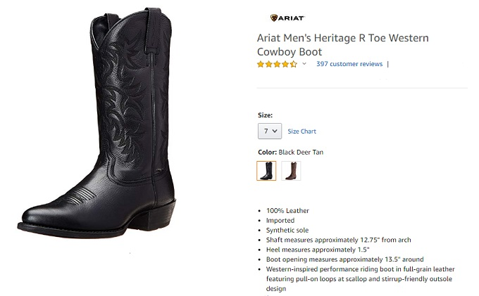 ariat heritage round toe western cowboy boot for men