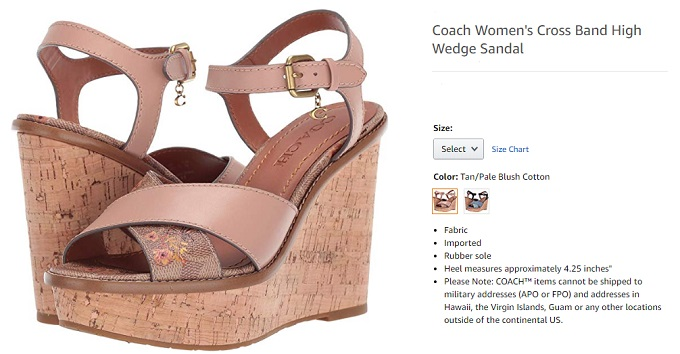 coach cross band high wedge western shoes for women