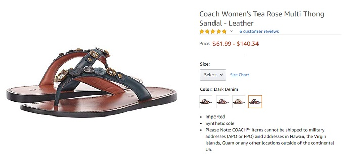 coach tea rose multi thong leather sandal for women