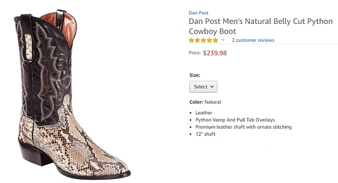 dan post python cowboy boot for men