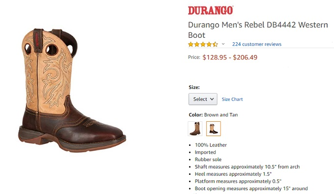 durango men's rebel western shoes