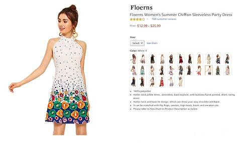 floerns chiffon sleeveless women's summer floral dresses