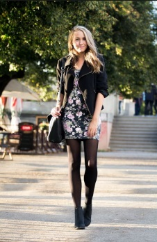 floral dress with tights and a leather jacket