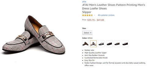 jitai pattern printing leather loafer men's dress shoes