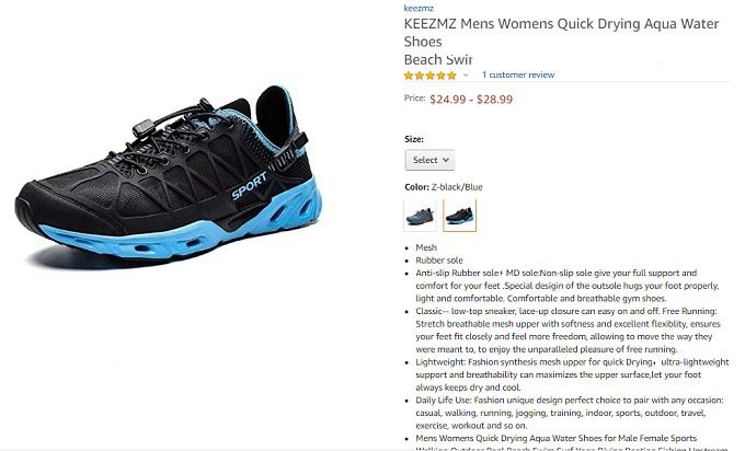 keezmz men and womens quick drying aqua water shoes