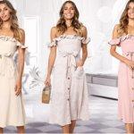 moxeay off shoulder summer floral dresses