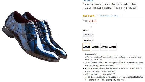 santimon pointed toe floral leather men dress shoes