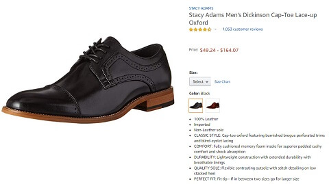 stacy adams mens dickinson cap toe lace up oxford