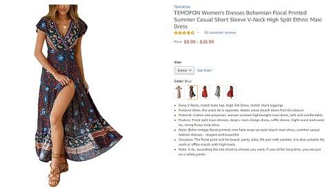 temofon bohemian floral printed v-neck high split ethnic maxidress