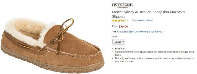 overland mens sydney australian sheepskin moccasin slippers