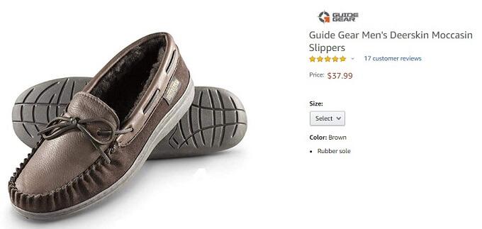 guide gear deerskin moccasins slippers