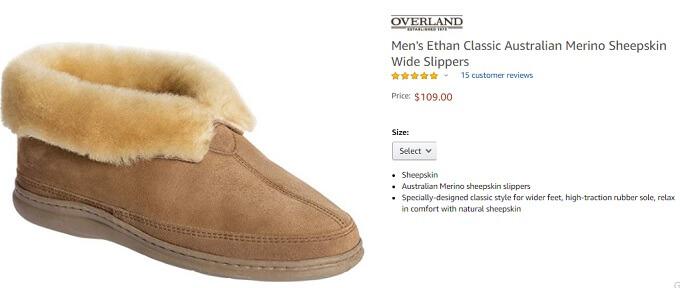 mens ethan classic australian merino sheepskin wide slippers